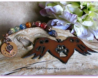 Angel Paws Rainbow Bridge Winged Heart Custom Ornament, Rainbow Bridge Pet Angel Wings Ornament, Stamped Rustic Angel Paws Gift, Angel Pets