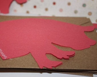 Piggy Stitched note card set