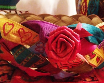"""Hand Painted Bohemian Unique Braided Corn Husk Basket  For Home or Office 9""""Wx8""""Hx9"""" D  X0062"""