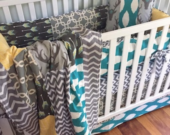 Rustic Deer Crib Bedding. Woodland Baby Bedding. Boy Crib Bumpers. Woodland Patchwork Quilt. Chevron Crib Sheet. Boy Crib Skirt. Boy Bedding
