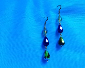 Long Dangling Drop Earrings, Blue and Green Crystal