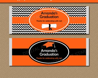 Graduation Chocolate Bar Wrapper, High School Graduation Candy Bar Wrappers, Editable Candy Bar Wrapper Template, Orange and Black G3