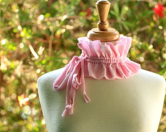 Victorian Style Fashion Collar - Ruffled Choker in Pink Cotton Gauze - Lots of Colors
