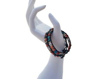 Wrap Beaded Bracelet; Double Wrap Bracelet; Handmade Beaded Bracelet
