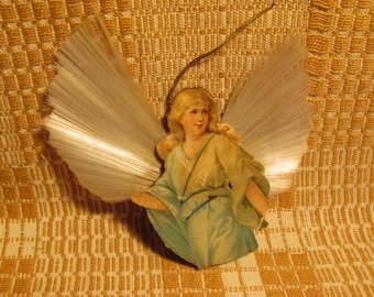 Antique Christmas Angel Ornament Spun Glass Wings Double Sided Lithograph Blonde Angle & Burnette Angel