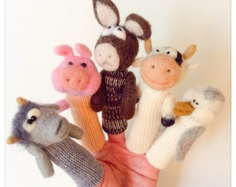 """Finger puppet animals """"Happy Farm"""" - wool/puppet fingers pantoufles wool felted and knit """"Happy farm"""""""
