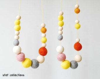 Pastel Necklace. Felt Balls Necklace. Wooden Bead Necklace. Sweet Necklace. Chunky Necklace. Large Bead Necklace.