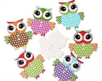 different colors wooden OWL button