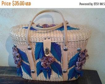 SALE Sisal Bucket Purse - Straw Bag - Purple Grapes - Large - Vintage