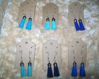Sassy Tassels Earrings - Blues