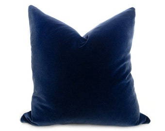 Navy Blue Velvet Pillow Cover - Cotton Velvet - Navy - More Sizes - Navy Pillow - Velvet Pillow - Navy Blue Pillow - Decorative Pillow