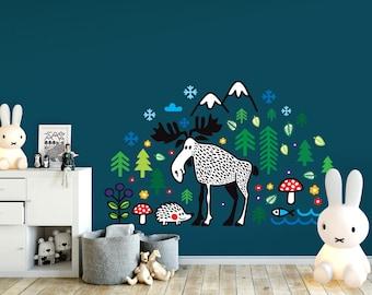 Nursery decal / Woodland decal / Moose/ Wall decor / Wall sticker / Wall art / Wild animals / Wilderness / Nature