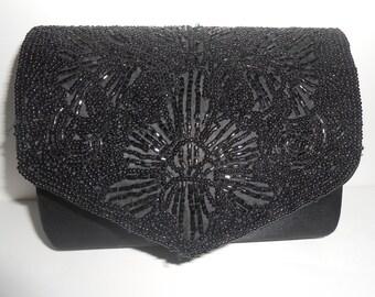Beaded Evening Bag, Black Evening Bag,Vintage Black Purse, Clutch Handbag, Black Bead Clutch,  Black Beaded Bag EB-0471