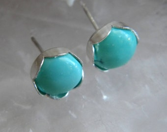 Turquoise Studs, 8mm Sterling Silver Posts, Genuine Kingman Turquoise, Gift for Her, Post earrings, KarenWolfeCreations