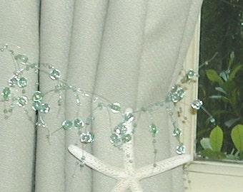 Beach Decor - 2 Curtain Tiebacks with Natural Starfish - Choose Sea Foam Green or Turquoise - coastal, star fish, home decor