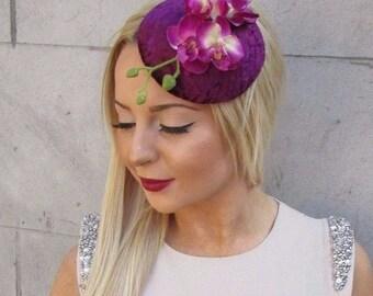 Plum Purple Velvet Orchid Flower Fascinator Hat Races Headpiece Hair Clip 2496