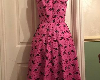 Rockabilly, Rock & Roll flemingo pink fitted dress size 8/10