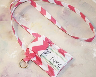 ID Badge Cell Phone Sleeve, Phone Case with ID Badge, ID Purse, iphone 5 accessories, samsung galaxy 3 - in Pink Chevron