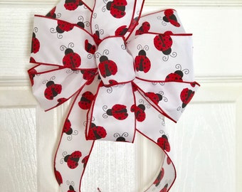Ladybug Bow for Wreath - Red White and Black Satin Bow - Lantern, Bannister, Party Decor