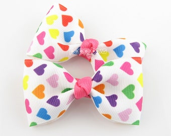 Bright Pink Colorful Heart Hair Bows on Alligator Clips - 2.5 inch - Baby Toddler Girl - Matching Pair AP