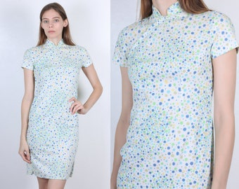60s Cheongsam Style Dress | Vintage White Floral Side Slit Wiggle Dress Chinese Mini - Extra Small XS