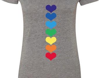 Yoga Clothing For You Ladies Shirt Heart Chakras Womens Scoop Neck Tee Shirt = 6730-HEARTCHAKRA