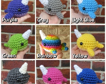 READY TO SHIP - Crochet - Blob Narwhal Amigurumi. Chibi Narwhal Plush. Rainbow Narwhal. Colorful Whale Amigurumi. Whale Plush. lgbt pride.