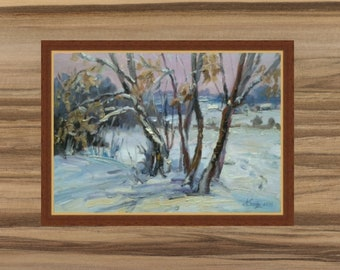 WINTER SILENCE 13 * 9 inches Winter landscape oil painting Impressionism art original painting. landscape painting oil painting white winter