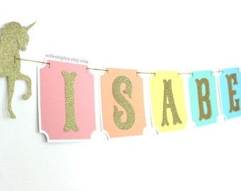 PASTEL Unicorn Banner.Gold Banner.Glitter Gold Birthday Banner. Name banner. Unicorn birthday.Unicorn name banner.pastel rainbow banner