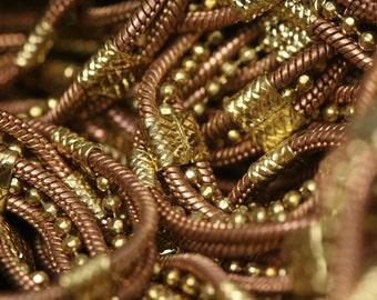 2 mt 6.6 feet 4.3 mm 0.17 inch raw brass 3 line snake chain ball chain fantasy...