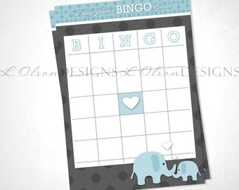 Loving Blue Elephants Bingo Game - DIY Printable - INSTANT DOWNLOAD