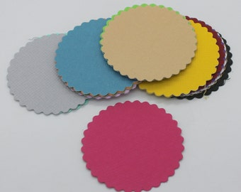 Round scalloped 1 : Die-cut cutting cardstock paper embellishment scrapbooking