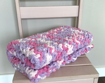 Pink and purple baby girl blanket