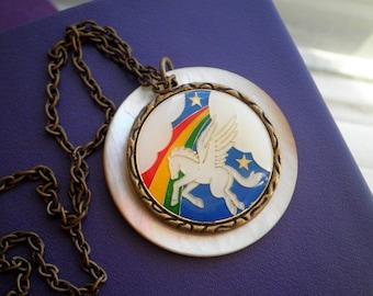 Vintage Pegasus Necklace - White Mother of Pearl Retro Button Pendant - Enamel Rainbow Flyng Horse Fantasy Art Boho Wanderlust Jewelry Gift