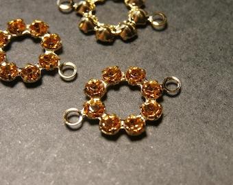 set of 3 flower Topaz color Swarovski Crystal connectors