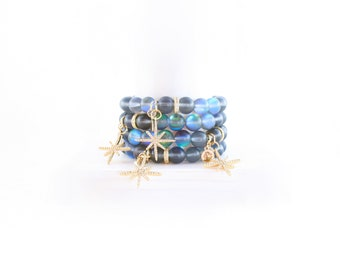 Quartz Beaded Bracelet - Star Charm Bracelet - Rainbow Blue Matte Quartz Jewelry - C Edwards Designs - Boho Bracelet