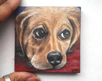 "Mini Oil Painting Puppy Dog Portrait 3""x 3"" READY to SHIP"