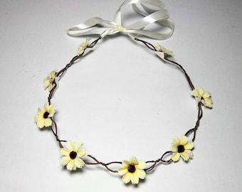 Boho Flower Wreath Crown Hair Accessory Headwear Wedding Bride Bridesmaid Beach Valentines Day Head Piece Ivory
