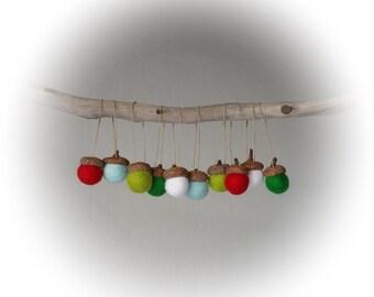 Acorn Christmas Ornaments : Felted Wool Acorn Ornaments