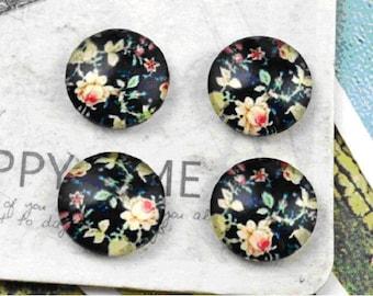 2 cabochon round 12 mm flower