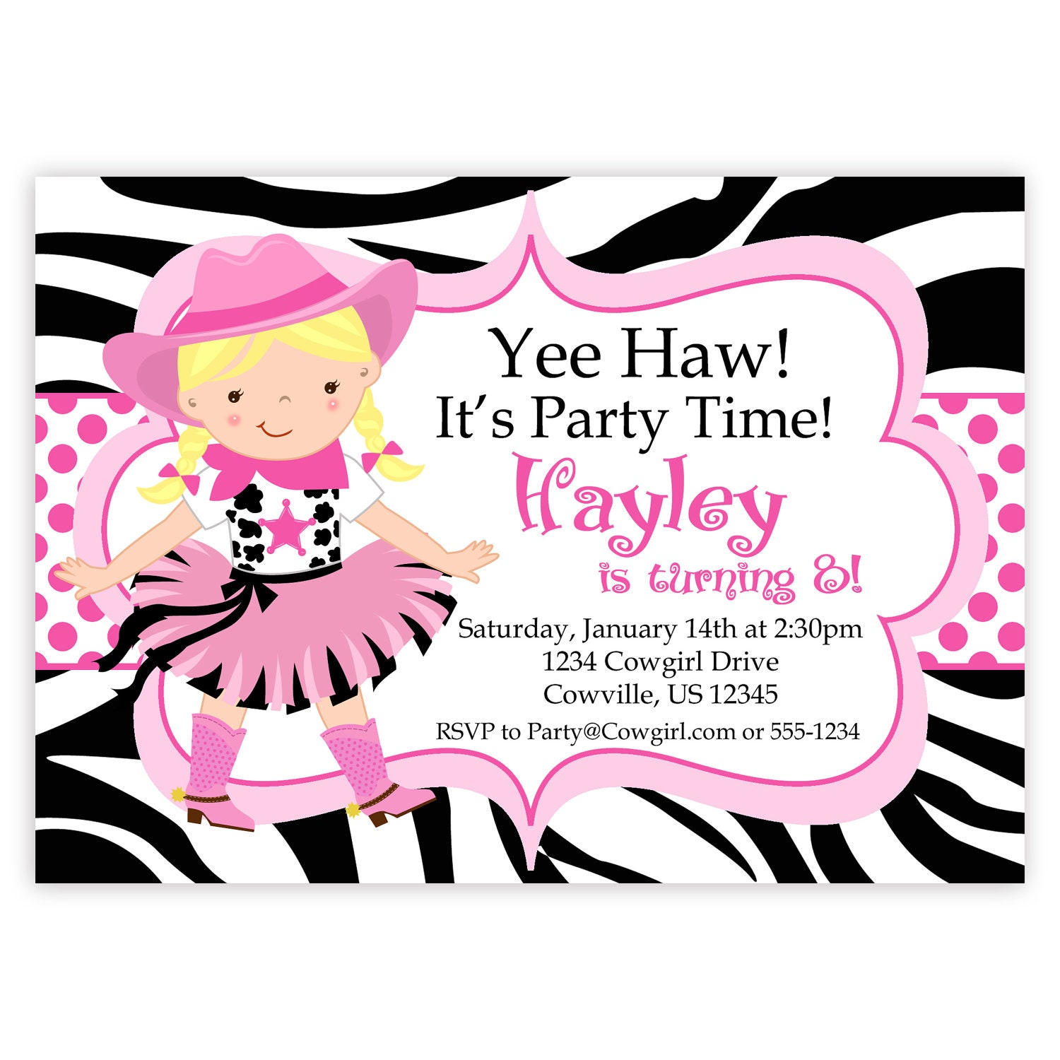 Cowgirl Birthday Invitation Hot Pink Zebra Print Polka Dot
