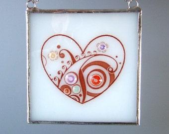 Fused Glass Heart Suncatcher Paisley Fiesta Light Catcher