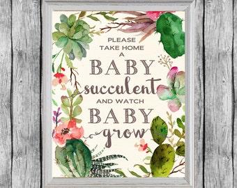 Succulent Baby Shower Favors Sign 8x10, Digital File, Instant Download. Succulent Favors Baby Shower Sign. Baby Shower Succulents.