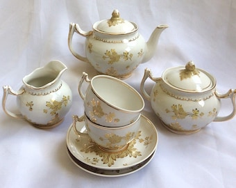Vintage Russian Tea Set for two by Verbilki Gardner, handpainted, tea pot, creamer, sucrier FREE SHIPPING