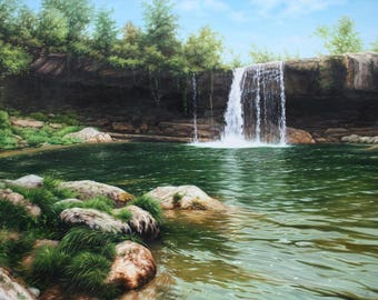 Waterfall oil painting, Oil landscape, Original oil, Mountain stream, River bank