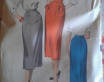 Vintage 50s Fitted Straight Sexy Secretary Skirt w/ Cool Shaped Pockets Sewing Pattern Advance 5910 W30