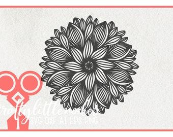 Zentangle Svg, Mandala Svg, Zentangle Flower Svg, Mandala Flower Svg, Hand Drawn Svg, cut files, Sunflower svg, Flower Filigree SVG, Flower