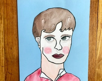 Sylvia Plath watercolor portrait