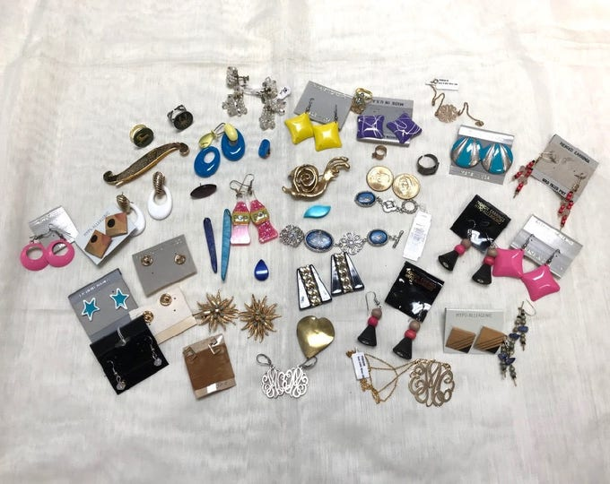 Earrings, Bracelet, Necklace, Grouping of Miscellaneous Jewelry, Jewelry to Break A Part and Make Something New, Recycle Up Cycle Jewelry