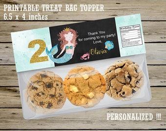 MERMAID PERSONALIZED Ziploc Treat Bag TOPPER, Mermaid Party Favors, Girl Mermaid Birthday, Girl Mermaid Candy Bag Topper